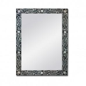 Handmade Bone Inlay Wooden Modern Floral Pattern Mirror Frame Furniture