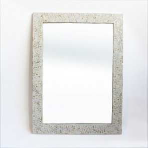 Handmade Mother Of Pearl Inlay Wooden Modern Floral Pattern Mirror Frame Furniture.