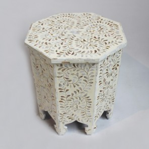 Handmade MOP Inlay Wooden Modern Floral Pattern End Table Furniture.