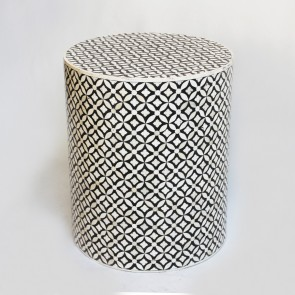 Handmade Bone Inlay Wooden Modern Geometric Pattern End Table Furniture.