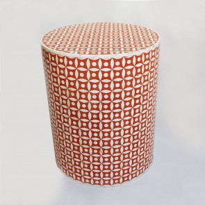 Handmade Bone Inlay Wooden Modern Hexagon Pattern End Table Furniture.