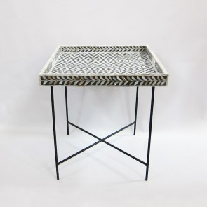Handmade Bone Inlay Wooden Modern Geometric Pattern Tray Furniture.