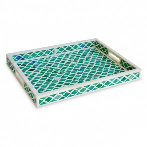 Handmade Bone Inlay Wooden Modern Mughal Pattern Tray Furniture.