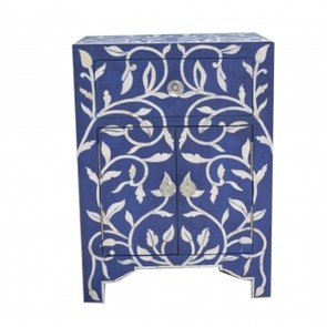 Handmade Bone Inlay Wooden Modern Floral Pattern Bedside with 1 Drawer and 2 Door Furniture.