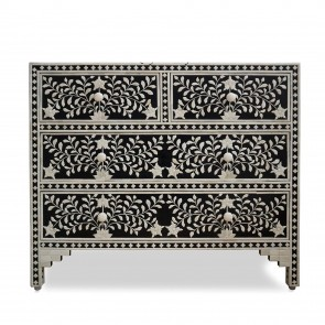 Handmade Bone Inlay Wooden Modern Floral Pattern Sideboard with 4 Drawer Furniture .