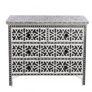 Handmade Bone Inlay Wooden Modern Pattern Sideboard with 4 Drawer Furniture .