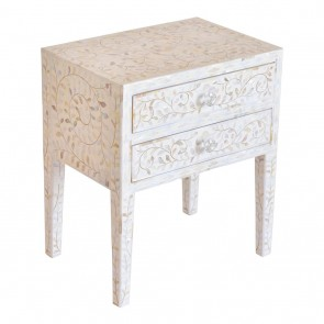 Mother Of Pearl Inlay Handmade Antique Home Decor Furniture Bedside