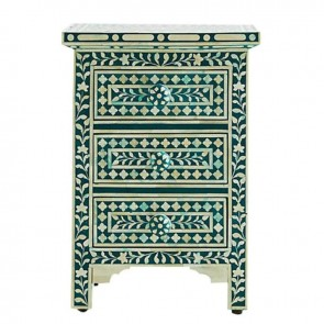 Green Bone Inlay Floral 3 Drawer Bedside Table Handmade Bone inlay Furniture