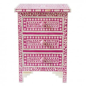 PInk Bone Inlay Floral 3 Drawer Bedside Table Handmade Bone inlay Furniture