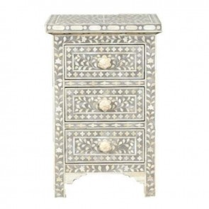 Grey Bone Inlay Floral 3 Drawer Bedside Table Handmade Bone inlay Furniture