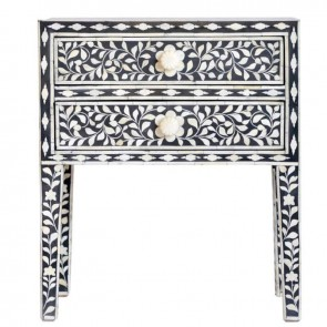 Bone Inlay Handmade End table Home Decor Furniture Art