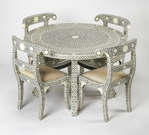Bone Inlay Handmade Antique Home Decor Furniture Dining table End 4 Chair