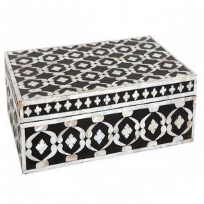 Handmade MOP Inlay Wooden Modern Geometric Pattern Jewelry Box Furniture