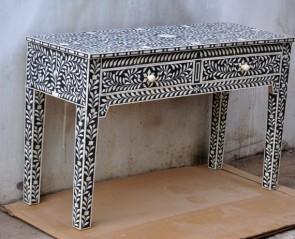 Bone Inlay Black Console Table 2 Drawer Modern Handmade Furniture Bone inlay