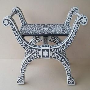 Bone Inlay Wooden Modern Antique Handmade Roman Chair
