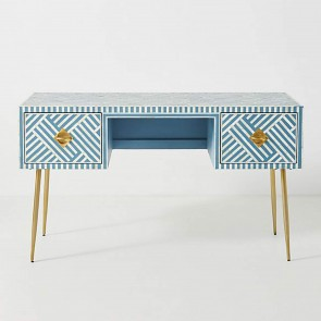 Handmade Bone Inlay Wooden Modern Striped Pattern Console Table Furniture .