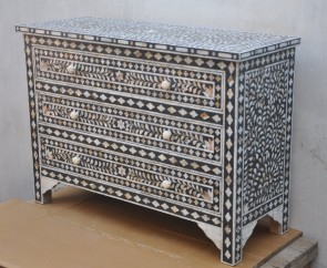 Mother Of Pearl Inlay Wooden Modern Antique Handmade Sideboard Drawers
