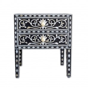 Handmade Bone Inlay Wooden Modern Floral Pattern Bedside with 2 Drawer Furniture