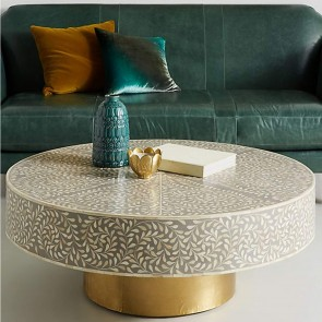 Handmade Bone Inlay Wooden Modern Floral Pattern Coffee Table Furniture