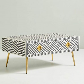 Handmade Bone Inlay Wooden Modern Striped Pattern Coffee Table Furniture with Iron legs