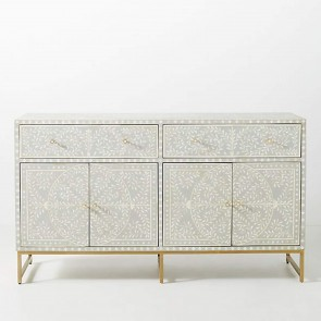 Handmade Bone Inlay Wooden Modern Floral Pattern Sideboard Furniture with Iron Legs