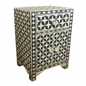 Bone Inlay Wooden Modern Handmade beautiful color of bone Bedside with 1 Drawer and 2 Door Furniture.