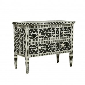 Handmade Bone Inlay Wooden Modern Pattern Sideboard with 2 Drawer Furniture .