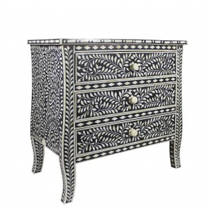 Handmade Bone Inlay Wooden Modern Floral Pattern Sideboard with 2 Drawer Furniture .