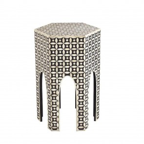 Handmade Bone Inlay Wooden Modern Geometric Eye Pattern End Table Furniture.