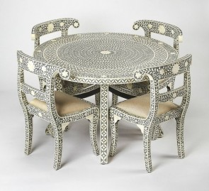 Grey Bone Inlay Geometric Pattern Dining table and Four chair Set Handmade bone inlay furniture