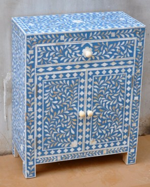 Mother of pearl Inlay Handmade Blue Bedside table Home Decor Furniture Art