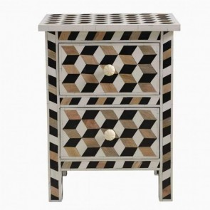 Handmade Bone Inlay Wooden Modern Cubic Pattern Bedside/Sidetable/Nightstand with 2 Drawer Furniture