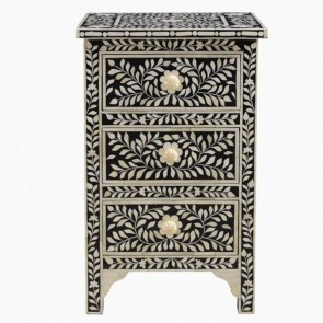 Handmade Bone Inlay Wooden Modern  Pattern Bedside with 3 Drawer Furniture .