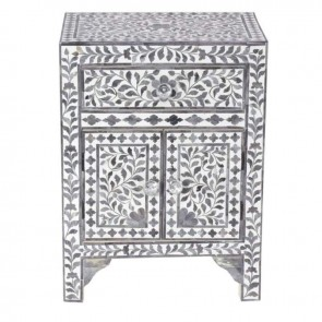 Handmade Bone Inlay Wooden Modern  Pattern Bedside with 1 Drawer and 2 Door Furniture .