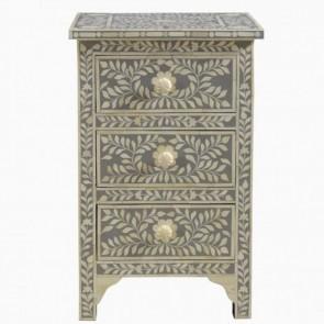 Handmade Bone Inlay Wooden Modern  Pattern Bedside with 3 Drawer Furniture