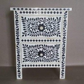 Black Bone Inlay Floral Two Drawer Bedside table Handmade