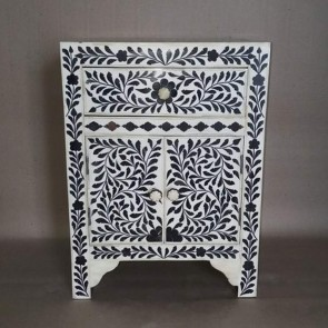 Black Bone Inlay Floral One Drawer Two Door Bedside Table Handmade