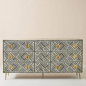 Handmade Bone Inlay Wooden Modern Striped Pattern Sideboard Furniture