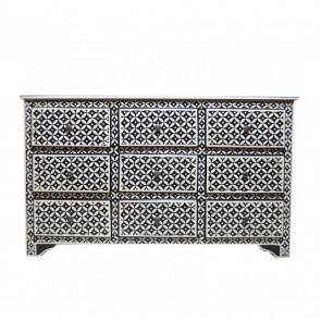 Handmade Bone Inlay Wooden Modern Geometric Pattern Sideboard with 9 Drawer Furniture .