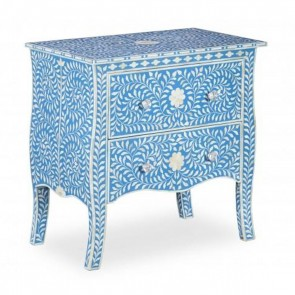 Bone Inlay Floral Chest Of 2 Drawers Blue Handmade Furniture