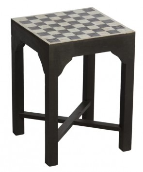Handmade Bone Inlay Wooden Modern Blocks Pattern Stool Furniture.