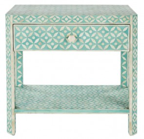 Handmade Bone Inlay Wooden Modern Geometric Pattern Bedside with 1 Drawer Furniture.