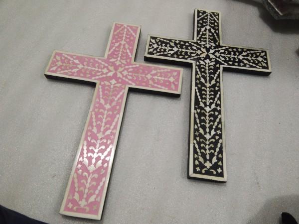 Handmade Mother Of Pearl Bone Inlay Cross.