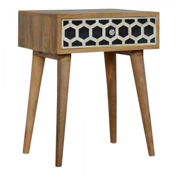 Handmade Bone Inlay Wooden Modern 2 Drawer Bedside Furniture