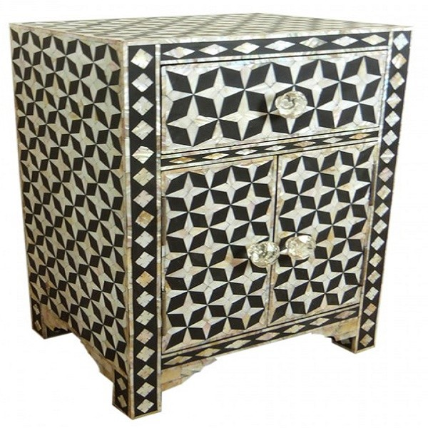 Handmade Mother of Pearl Inlay Wooden Modern Star Pattern 1 Drawer and 2 Door Bedside Furniture
