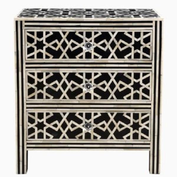 Handmade Bone Inlay Wooden Modern Star pattern 3 Drawer Bedside Furniture