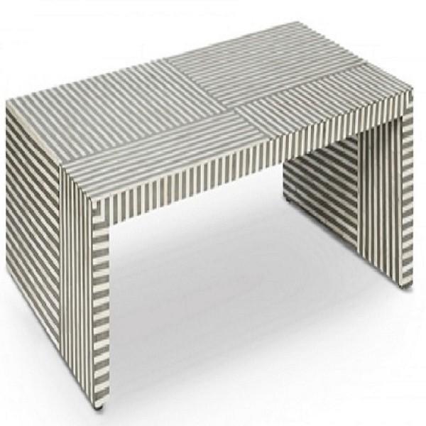 Handmade Bone Inlay Wooden Modern Waterfall Pattern Coffee Table Furniture.