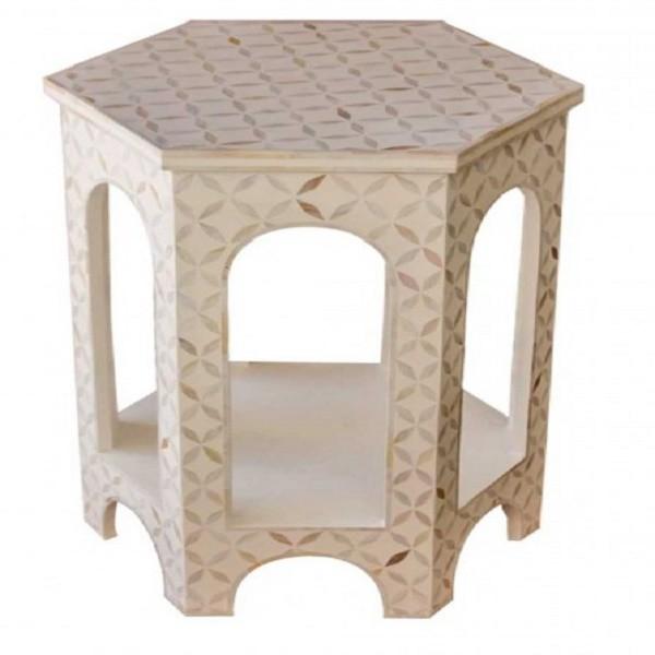 Handmade Bone Inlay Wooden Modern Geometric Eye Pattern End Table Furniture.