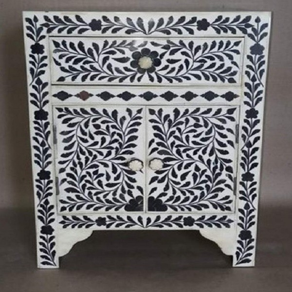 Handmade Mother Of Pearl Inlay Antique Home Decor Floral Pattern 1 Drawer and 2 Door Bedside Furniture