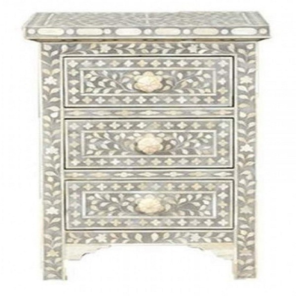 Handmade Mother of Pearl Inlay Wooden Modern Floral Pattern 3 Drawer Bedside Furniture